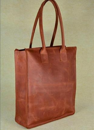 Шикарная сумка шопер кожа crazy horse!3 фото
