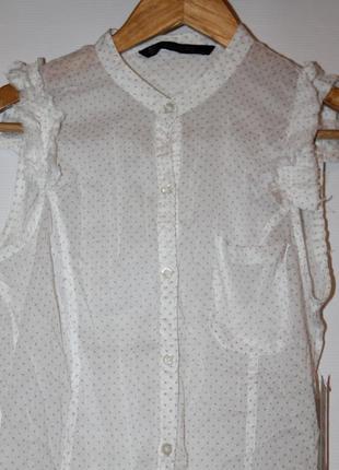 Легкая летняя белая блуза блузка рубашка zara 100% коттон s xs