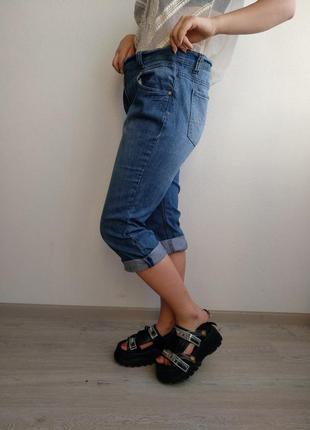 Джинсы бриджи джинсовые баталы бойфренды с завышенной талией голубые