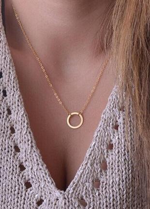 Золотая нежная цепочка цепь  круг  кольцо тренд