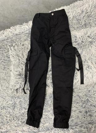 Брюки карго милитари штаны с карманами тренд черные3 фото