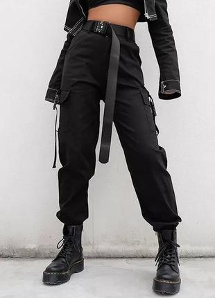 Брюки карго милитари штаны с карманами тренд черные