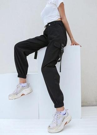 Брюки карго милитари штаны с карманами тренд черные2 фото