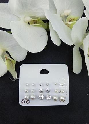 9 пар пуссетов по супер цене!! жемчужные серьги и пусеты кристаллы сток из европы