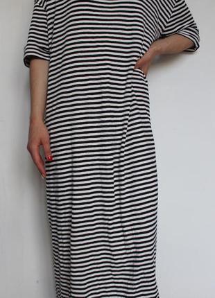 Zara летнее oversize платье в полоску с открытой спиной