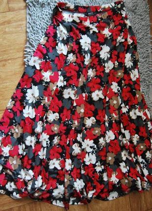Шикарная пышная юбка в цветы цветочный принт спідниця в квіточки midi