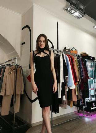 Шикарное сексуальное бандажное платье миди футляр черное с чокером herve leger4 фото