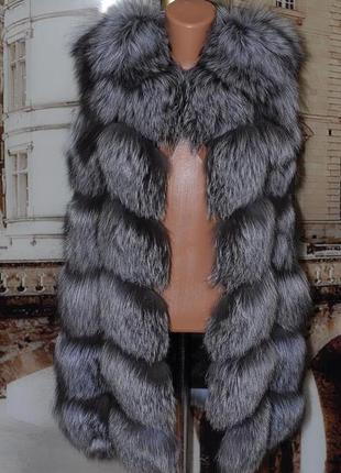 меховые жилетки фото из чернобурки