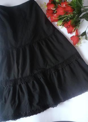 Черная летняя юбка с кружевом liquid