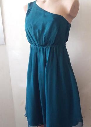 Платье на одно плечо цвета морской волны 100%шелк