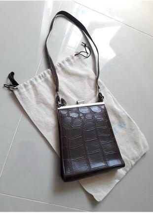Винтаж англия винтажная маленькая сумка крокодил на ремешке в стиле celine5 фото