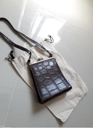 Винтаж англия винтажная маленькая сумка крокодил на ремешке в стиле celine