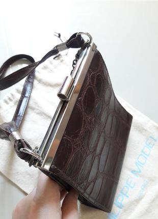 Винтаж англия винтажная маленькая сумка крокодил на ремешке в стиле celine2 фото