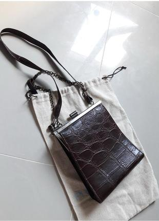 Винтаж англия винтажная маленькая сумка крокодил на ремешке в стиле celine3 фото