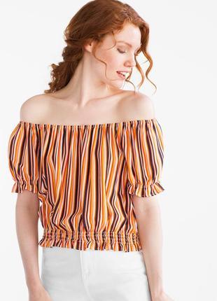 Яркая укороченная блуза топ с натуральной ткани xs