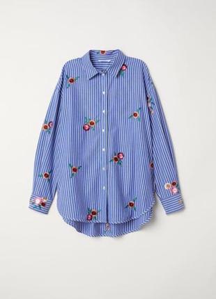 H&m блузка - рубашка оверсайз с вышивкой.
