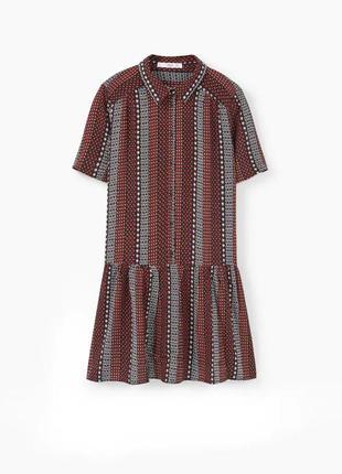 Вискозное свободное платье-халат с короткими рукавами на пуговицах с карманами