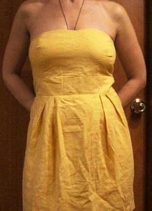 Новое льняное платье корсетное vila