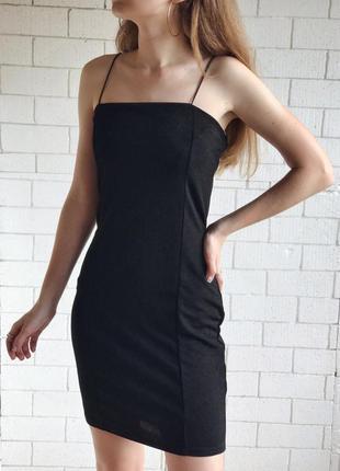 Платье мини , черное, на бретельках , boohoo , s