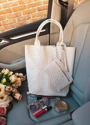 Кожаная сумка-шопер fiori