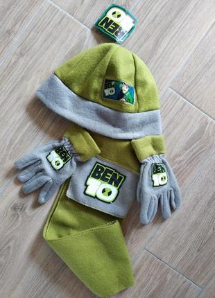 Ben 10 флисовый набор комплект шапка шарф и перчатки
