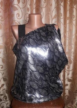 ✨✨✨красивая женская кофта с коротким рукавом в пайетках, блузка, топ river island🔥🔥🔥