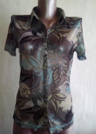 Рубашка из тонкой трикотажной сетки мехх