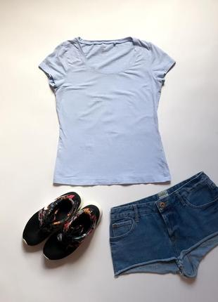 Базовая голубая футболка c&a. р. s