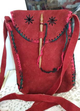 Красная замшевая сумочка,сумка,натуральный замш