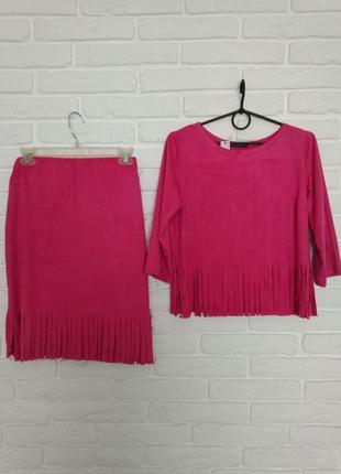 Костюм юбка топ трикотаж-замша размер универсальный юбка блузка, малиновый бахрома 44 -46