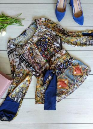 Рубашка /блуза с поясом mystic blue /40