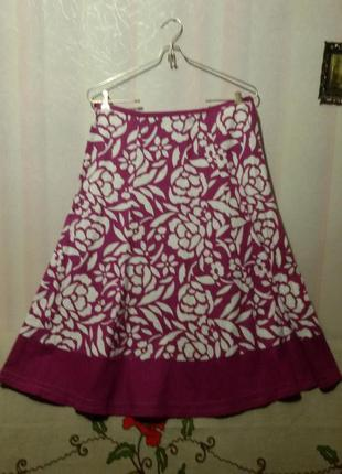 Яркая льняная юбка (пот-42,5 см)
