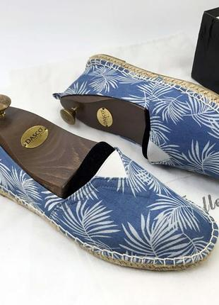 Эспадрильи женские летние тапочки синие белые голубой текстиль удобные