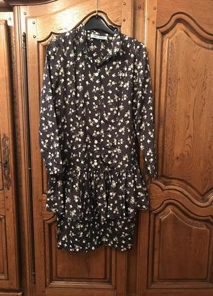 Платье с воланом,в горошек цветочный принт