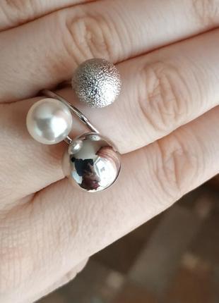 Кольцо колечко жемчуг серебро безразмерное