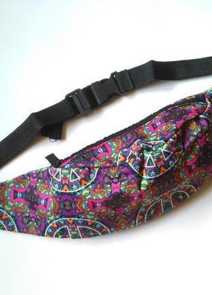 Новая модная бананка, барыжка, сумка на пояс, поясная сумка винтаж этно2 фото