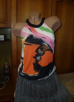 Очень красивая летняя майка(футболка,топ),типа шифона на подкладке