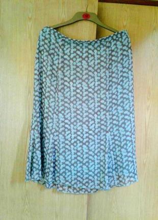 Крепдешиновая  коричневые в голубые и розовые горохи юбка 6-клинка, 2xl.