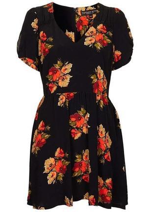 Летнее платье в цветочек из вискозы, цветочный принт