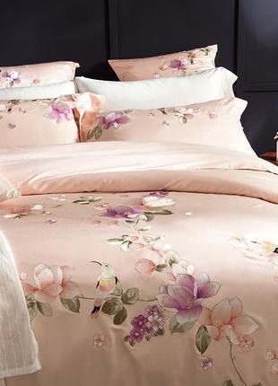 Комплект постельного белья персиковый хлопок с вышивкой