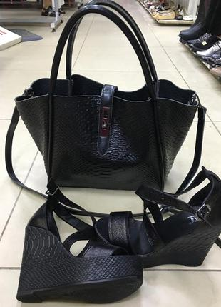 Стильная  кожаная сумка / сумка рептилия/  сумка через плечо