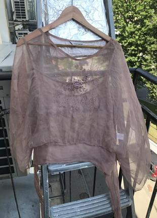 Блуза летящая шёлк пудра 46