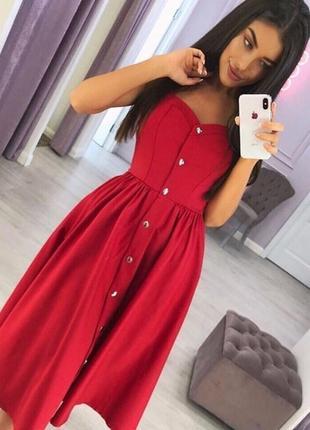 Котоновий сарафан платье 🌷 красное с дефектом!