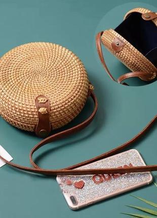 Сумка соломенная, сумка плетёная, сумка ротанг.