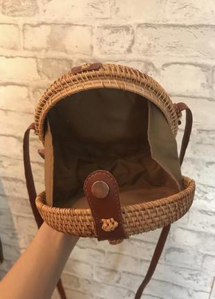 Сумка соломенная, сумка плетёная, сумка ротанг.4 фото