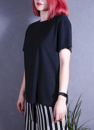 Черная футболка, женская футболка, базовая черная футболка, свободная футболка