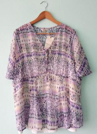 Яркая блуза и майка 2 в 1 етно бохо стиль большой размер 48 от marks&spenser 3xl-4xl