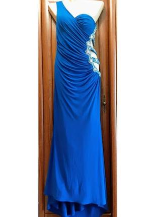 Длинное вечернее платье макси на одно плечо с камешками блестками best look