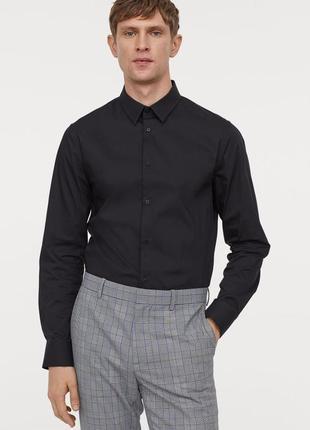 Базовая черная строгая деловая рубашка