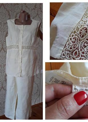 100 % льон костюм в лимонном нежном цвете с вставками кружева с бриджами капри